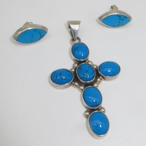 Jewelry - Large Sterling Cross with Matching Earrings